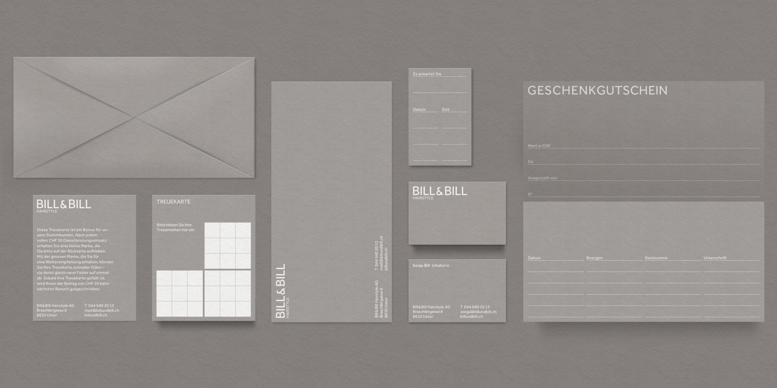 Übersicht der gesamten Geschäftsdrucksachen des Coiffeursalon nach dem Rebranding. Gutschein, Treuekarte, Terminkarte, Visitenkarte, Couvert, etc.