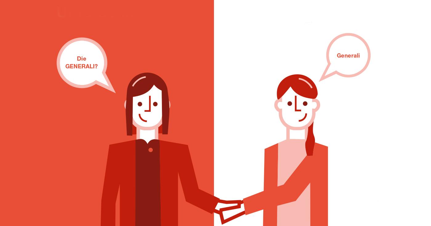 """Illustration von zwei Frauen, eine sagt """"die GENERALI"""", die andere korrigiert zu """"Generali"""""""