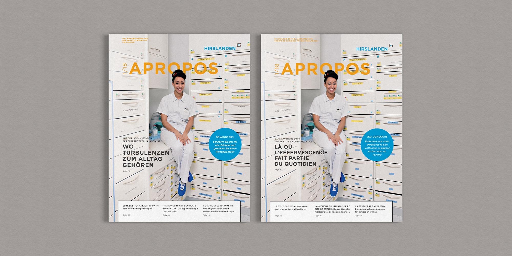 Zwei Cover des neuen Mitarbeitermagazins der Hirslanden Klinik. Einmal auf Deutsch, einmal auf französisch, aber zweimal das gleiche Motiv: Eine junge Frau in weiss Pflegekleidung sitzt auf einer kleinen Ablagefläche in der Ecke eines grossen Medizin-Schubladenschranks.
