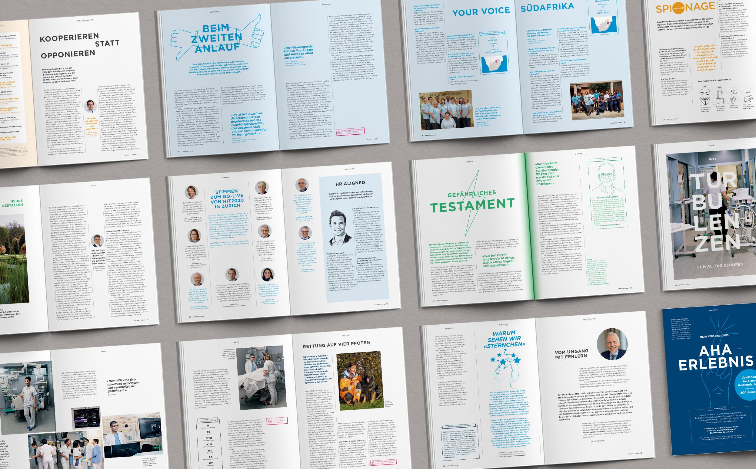 Übersicht über einige Doppelseiten des neuen Mitarbeitermagazins der Hirslanden Klinik