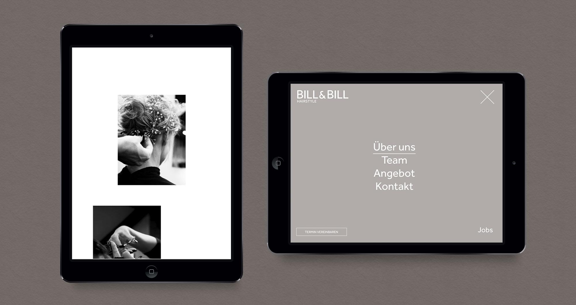 Hoch und Querversion der Website nach dem Rebranding auf dem Tablet. Links, im Hochformat: eine Bildergalerie. Rechts im Querformat die Navigation.