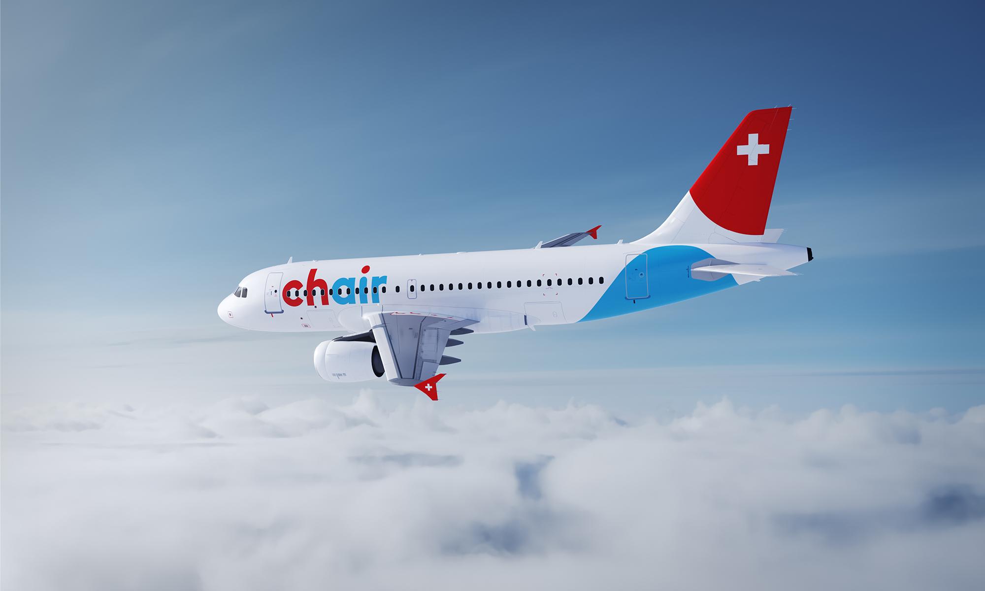 Bild des neuen Designs auf einem Flugzeug (Livery), fliegend am Himmel