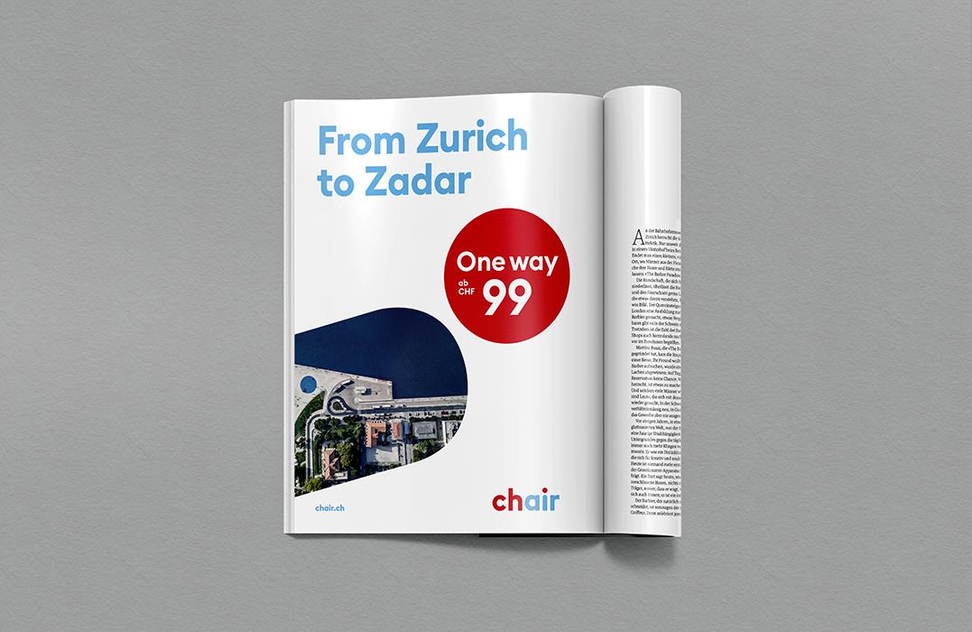 """Inserate mit Messaging: """"From Zurich to Zadar"""", Preisbotschaft und Bild von Zadar von oben.."""