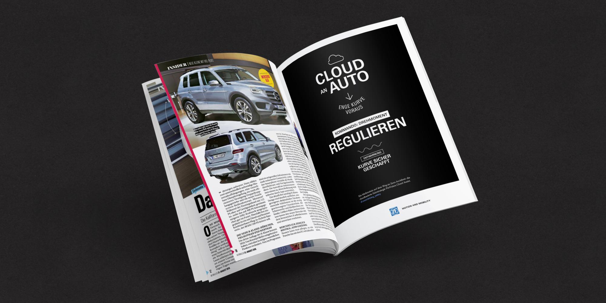 """Aufgeschlagene Magazinseite zeigt die Kampagne Automatisiertes Fahren von ZF: """"Cloud an Auto – Enge Kurve voraus –Kommando: Drehmoment regulieren. Entwarnung: Kurve geschafft."""