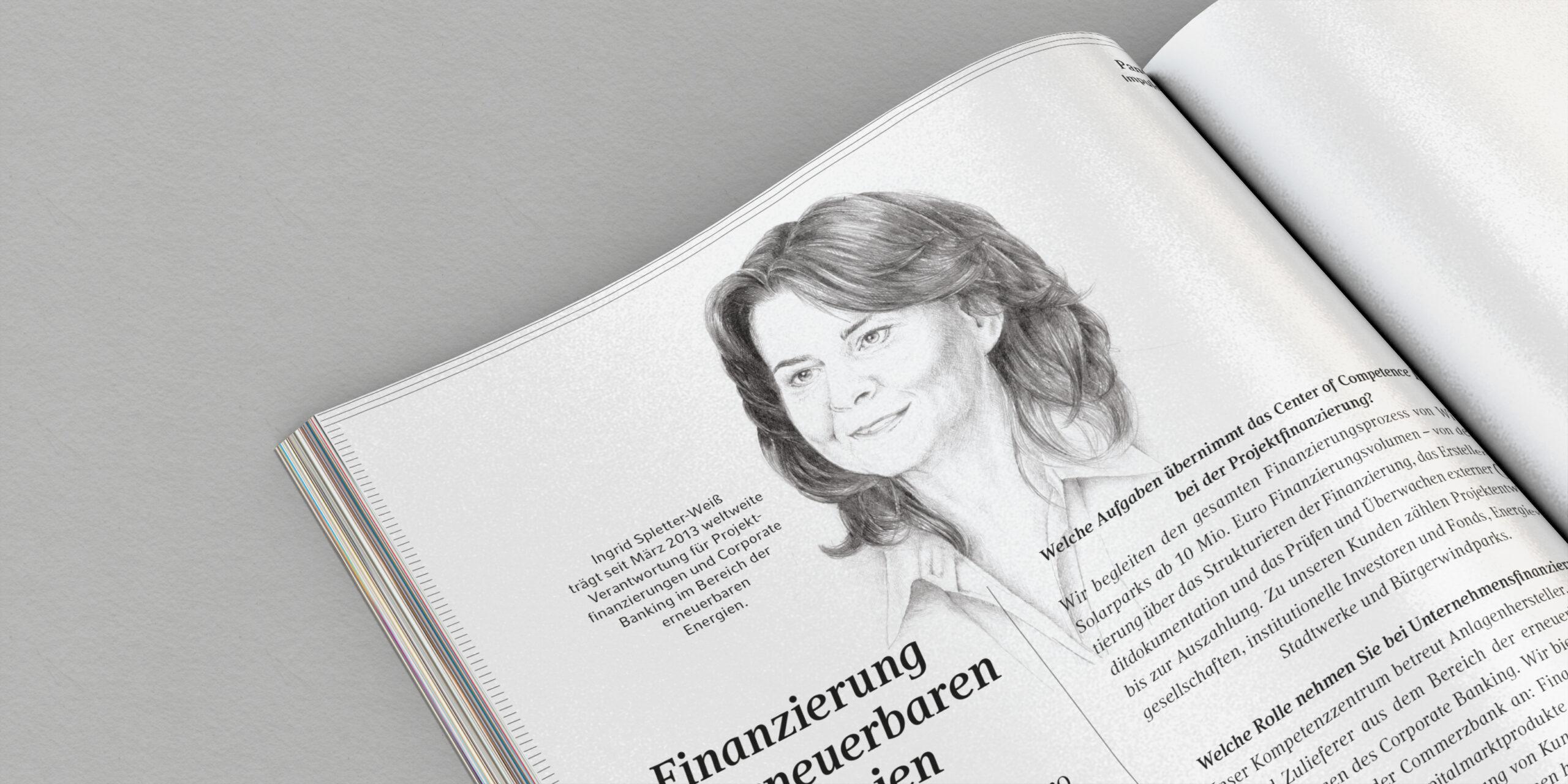 Portrait-Illustration von Ingrid Spletter-Weiss für das Commerzbank Wealth Management Magazin